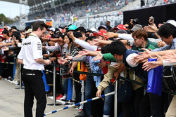 Toto Wolff, Mercedes AMG F1 Director of Motorsport signs autographs for the fans