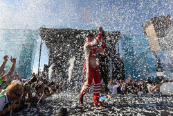 Felix Rosenqvist, Mahindra Racing, sprays the champagne on the podium