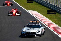 The Safety Car leads Sebastian Vettel, Ferrari SF70H, Kimi Raikkonen, Ferrari SF70H