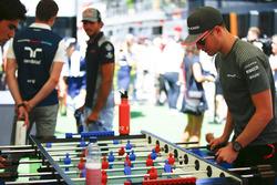 Stoffel Vandoorne, McLaren, plays table football