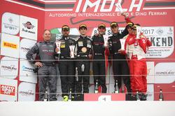 Podio SGT3 gara 2, Treluyer-Ghirelli (Audi Sport Italia,Audi R8 LMS-S.GT3 #8), Agostini-Zampieri (An