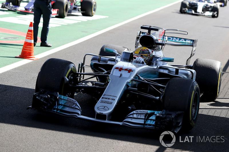 Race winner Lewis Hamilton, Mercedes AMG F1 arrives in parc ferme
