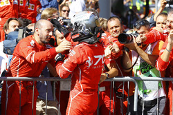 Third place Sebastian Vettel, Ferrari, celebrates, his team