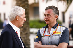 Marco Tronchetti Provera, Executive Vice Chairman and Chief Executive Officer, Pirelli, with Mario Isola, Racing Manager, Pirelli Motorsport