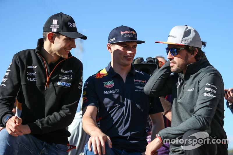 Esteban Ocon, Sahara Force India F1, Max Verstappen, Red Bull Racing and Fernando Alonso, McLaren