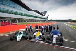 Former drivers with a Williams FW08, FW11 and a Williams FW40, Antonio Pizzonia, Felipe Massa, Willi