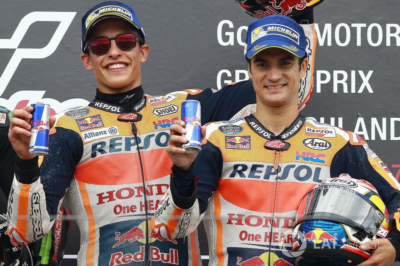 Podium: ganador, Marc Marquez, Repsol Honda Team, tercero, Dani Pedrosa, Repsol Honda Team