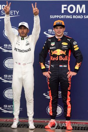 Polesitter Lewis Hamilton, Mercedes AMG F1 and Max Verstappen, Red Bull Racing in parc ferme