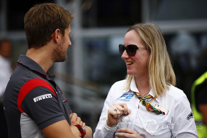 Romain Grosjean, Haas F1 Team, talks to FIA F2 Head of Media and Communications Alexa Quintin