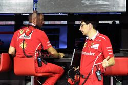 Jock Clear, Ferrari Chief Engineer and Mattia Binotto, Ferrari Chief Technical Officer on the pitwall gantry