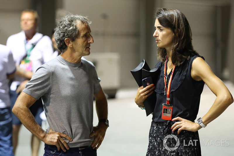 Alain Prost, consejero especial de Renault Sport F1 Team y Margot Laffite de Canal