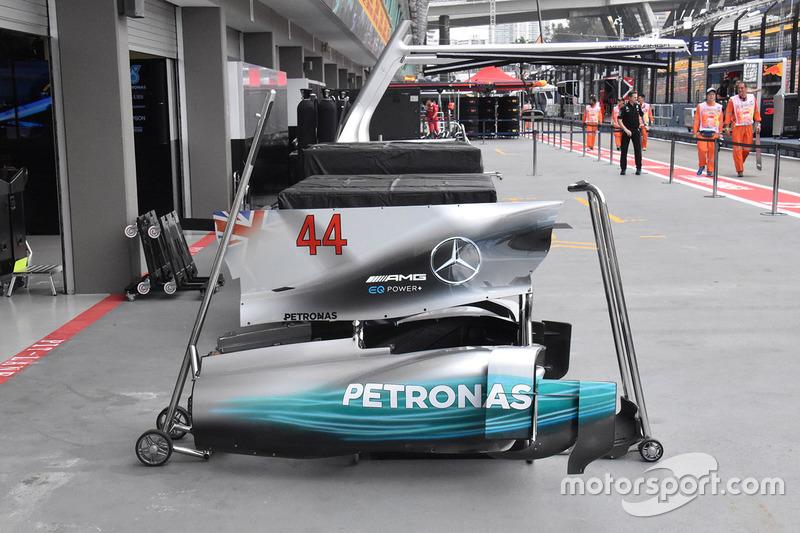 Carrosserie de la voiture de Lewis Hamilton, Mercedes AMG F1 W08