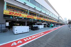Mercedes AMG F1 garage and freight