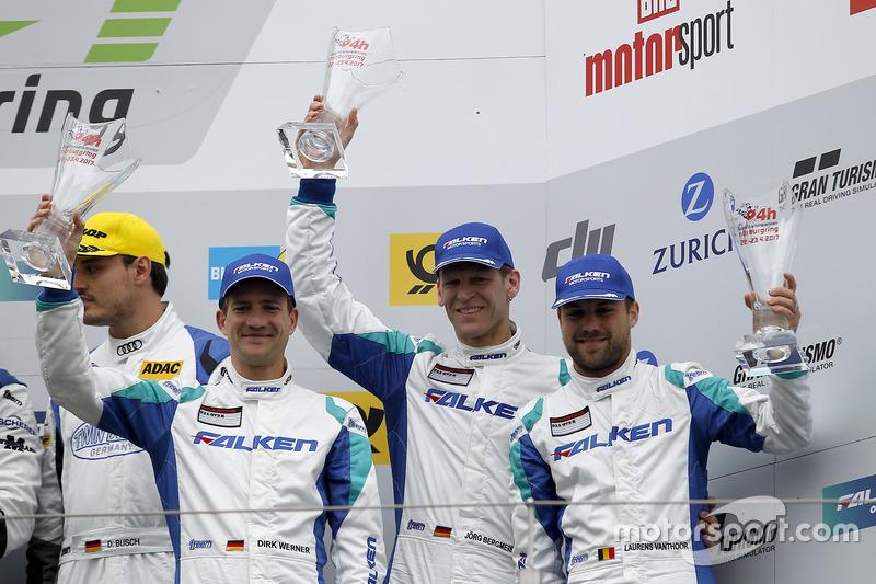 Podium: 3. #44 Team Falken Motorsport, Porsche 991 GT3-R: Jörg Bergmeister, Dirk Werner, Laurens Vanthoor