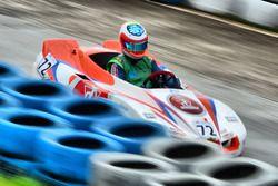 Rubens Barrichello bij evenement 500 mijl kartwedstrijd