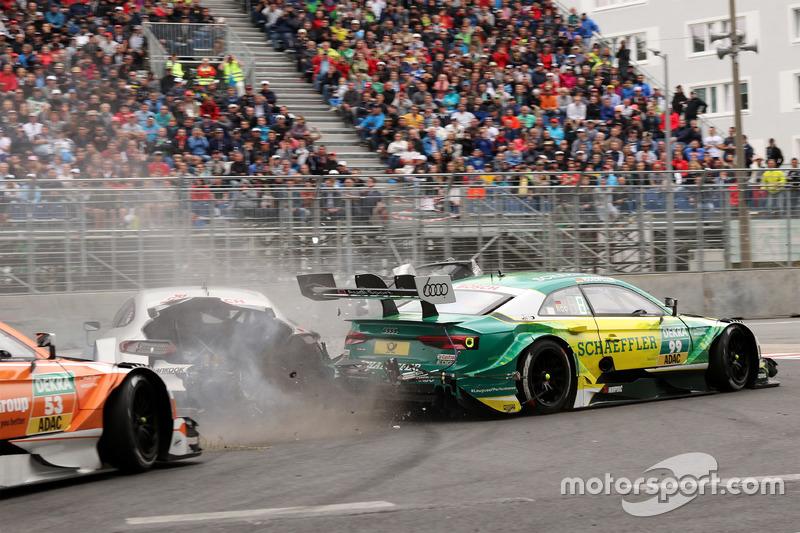 Accidente de Gary Paffett, Mercedes-AMG Team HWA, Mercedes-AMG C63 DTM y Mike Rockenfeller, Audi Sport Team Phoenix, Audi RS 5 DTM