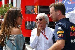 Bernie Ecclestone, sa femme Fabiana Ecclestone, et Christian Horner, Team Principal Red Bull Racing