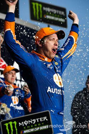Brad Keselowski, Team Penske Ford, celebrates his win in Victory Lane