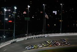 Johnny Sauter, GMS Racing Chevrolet, leads a pack of trucks