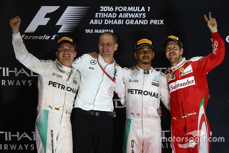 El día de la consagración y despedida de Nico Rosberg en Abu Dabi 2016. El alemán ha sido el tercero más ganador de esta década con 23 victorias, solo superado por Hamilton y Vettel.
