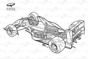 Vue d'ensemble de l'arrière de la Williams FW14B