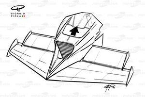 Brabham BT53 1984, dettaglio del naso estremizzato
