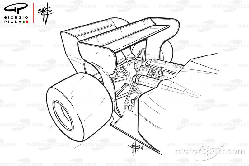 Detalle del alerón trasero del Toleman TG184 1984
