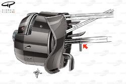 Воздухозаборник передних тормозов Toro Rosso STR11. Красной стрелкой показана дополнительная вертика