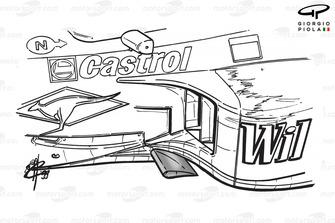 Williams FW21 sidepod floor canard (highlighted in grey) - Belgian GP