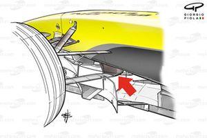 Jordan EJ14 front suspension, lower wishbone L shaped keel fixture point (arrowed)