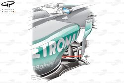 Mercedes W03 sidepod airflow conditioner moved (arrow)