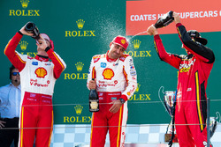 Podium: winner Scott McLaughlin, Team Penske Ford, second place Fabian Coulthard, Team Penske Ford, third place Chaz Mostert, Rod Nash Racing Ford