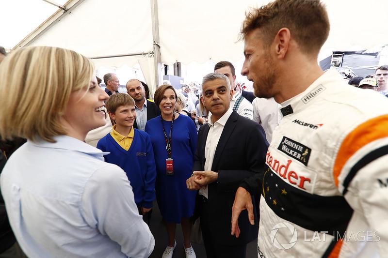 Susie Wolff, Channel 4; Claire Williams, Stellvertretende Williams-Teamchefin; Sadiq Khan, Bürgermeister von London; Jenson Button, McLaren