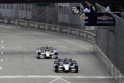 Graham Rahal, Rahal Letterman Lanigan Racing Honda, takes the checkered flag
