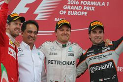 Sebastian Vettel, Scuderia Ferrari, Nico Rosberg, Mercedes AMG F1 Team y Sergio Pérez, Sahara Force