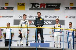 Podium: race winner Josh Files, Target Competition, SEAT Leon TCR, second place Bas Schouten, ST Motorsport, SEAT Leon Cup Racer , third place Tim Zimmermann, Liqui Moly Team Engstler, VW Golf GTI TCR