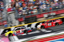 Landon Cassill, Front Row Motorsports Ford, Michael Annett, HScott Motorsports Chevrolet
