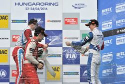 Rookie podium: second place Guanyu Zhou, Motopark Dallara F312 – Volkswagen; Winner Ralf Aron, Prema Powerteam Dallara F312 – Mercedes-Benz; third place Ben Barnicoat, HitechGP Dallara F312 – Mercedes-Benz