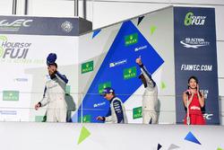 Podium GTE AM: third place #78 KCMG Porsche 911 RSR: Christian Ried, Wolf Henzler, Joël Camathias