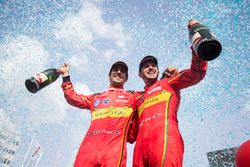 Second place Daniel Abt, ABT Schaeffler Audi Sport and third place Lucas di Grassi, ABT Schaeffler Audi Sport celebrate on the podium