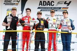 Podium: race winner Joseph Mawson, Van Amersfoort Racing, second place Thomas Preining, Lechner Racing, third place Mick Schumacher, Prema Powerteam