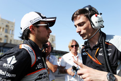 (L to R): Sergio Perez, Sahara Force India F1 with Tim Wright, Sahara Force India F1 Team Race Engin
