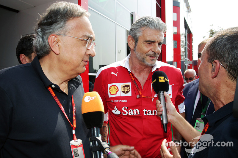 (L to R): Sergio Marchionne, Ferrari President and CEO of Fiat Chrysler Automobiles with Maurizio Ar