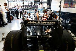 The team at work in the garage of McLaren
