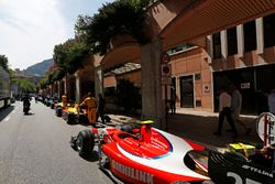 GP2 cars line up waiting to be pouched into the pit lane