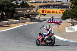 3rd place Nicky Hayden, Honda World Superbike Team celebrates after the race