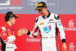 Podium: winnaar Alexander Albon, ART Grand Prix, tweede Charles Leclerc, ART Grand Prix