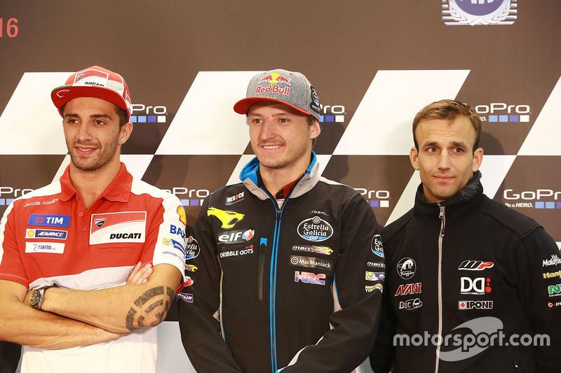 Andrea Iannone, Ducati Team, Jack Miller, Marc VDS Racing Honda and Johann Zarco, Ajo Motorsport