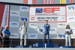 Podium: race winner Colton Herta, Carlin Motorsport, second place Ferdinand Habsburg, Drivex School, third place Tatiana Calderon, Teo Martin Motorsport
