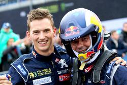 Third place Timmy Hansen, Team Peugeot Hansen, race winner Sébastien Loeb, Team Peugeot Hansen